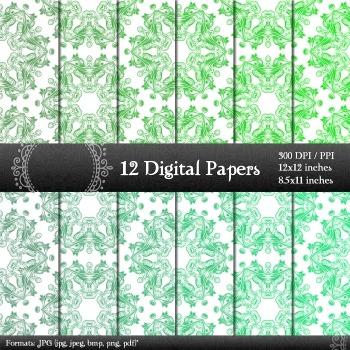 Digital Paper Jpg Decorative Texture Collag Pattern Set Supplie Clipart Ornate