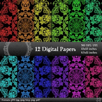 Digital Paper Jpg Supplie Clip Card Page Graphics Lot Cover Background Ornate A4