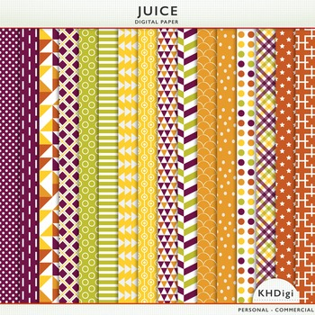 "Digital Paper - ""Juice"" Purple Green Orange Yellow"