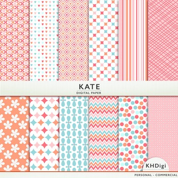 """Digital Paper - """"Kate"""" - Soft Corals and Blue"""