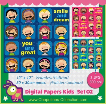 Digital Paper Kids Seamless Pattern, Smile and dream, You
