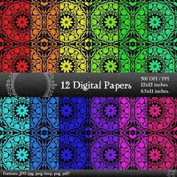 Digital Paper Kit Book Supplie  Decoration Sheet Art Page Retro Graphics Paper