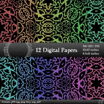 Digital Paper Kit Clipart Ornate Digital Seamless Vintage Scrap Booking Pattern