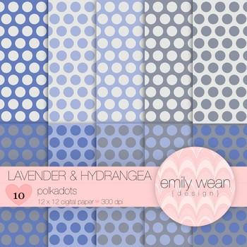 Lavender and Hydrangea - Digital Paper - Polkadots Background