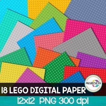 Digital Paper Backgrounds | Lego Paper Clipart