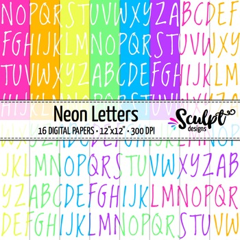 Digital Paper ~ Letters ~ Neon Colors