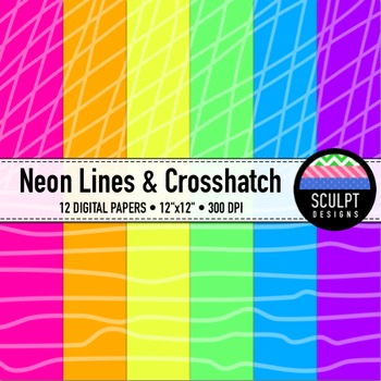 Digital Paper ~ Lines & Crosshatch ~ Neon Colors