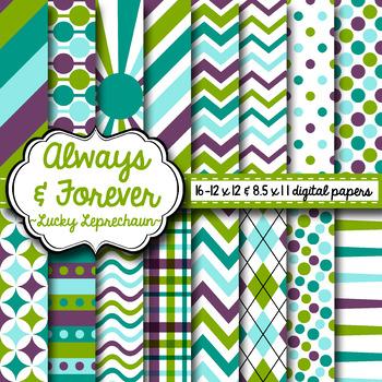 Digital Paper Lucky Leprechaun