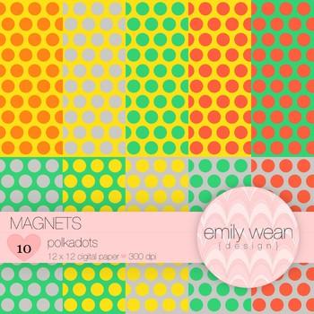Magnets - Digital Paper - Polkadots Background