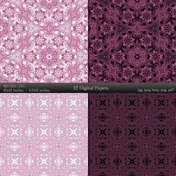 Digital Paper Mandala Collag Ornate Retro Scrap Book Instant Download Card Henna
