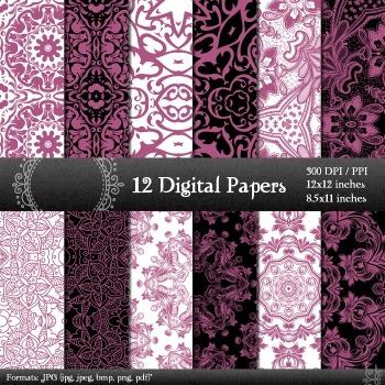 Digital Paper Mandala Collag Ornate Retro Scrap Book Insta