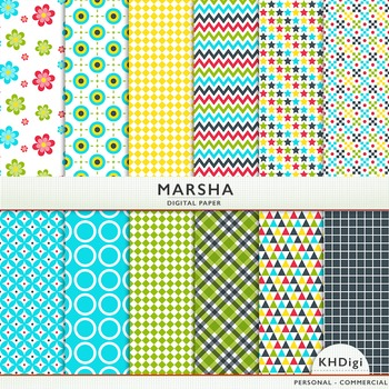 "Digital Paper - ""Marsha ""  Blue Green Red Yellow"