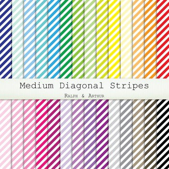 Digital Paper - Medium White Diagonal Stripes