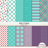 """Digital Paper - """"Melting"""" - Teal Blue, Purple and Orange"""