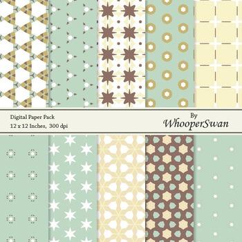 Digital Paper - Mint Brown Vintage