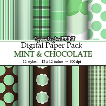 Digital Paper -- Mint and Chocolate