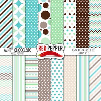 Digital Paper / Patterns - Minty Chocolate