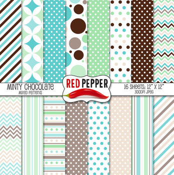 Digital Paper / Patterns - Minty Chocolate