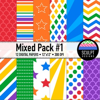 Digital Paper ~ Mixed Pack #1 ~ Multicolored