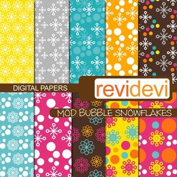 Digital Paper Mod Bubble Snowflakes 10018 (patterned background)