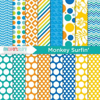 Digital Paper - Monkey Surfin', summer, surfing, surf, beach, ocean, tropical
