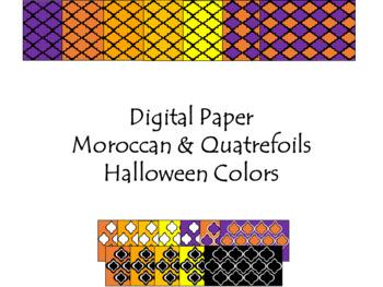 Digital Paper - Moroccan & Quatrefoils - Halloween Colors