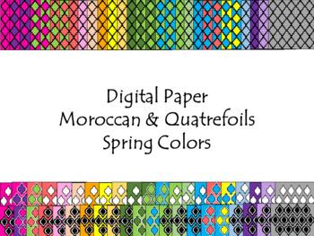 Digital Paper - Moroccan & Quatrefoils - Spring Colors