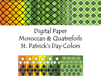 Digital Paper - Moroccan & Quatrefoils - St. Patrick's Day Colors