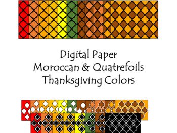 Digital Paper - Moroccan & Quatrefoils - Thanksgiving Colors
