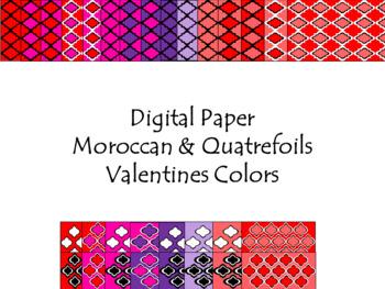 Digital Paper - Moroccan & Quatrefoils - Valentines Colors