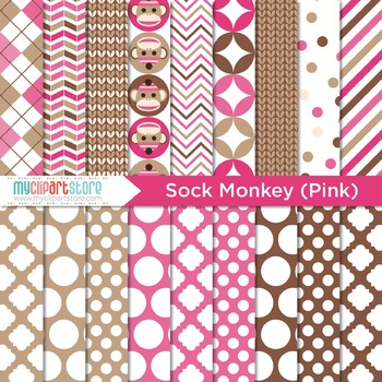 Digital Paper - My Sock Monkey (Pink)