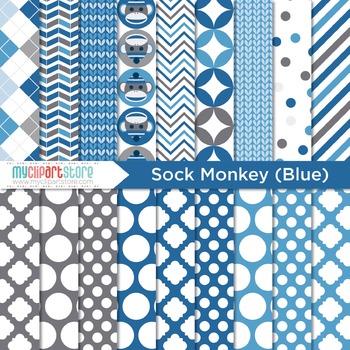Digital Paper - My Sock Monkey (Blue)