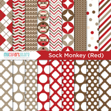 Digital Paper - My Sock Monkey (Red)