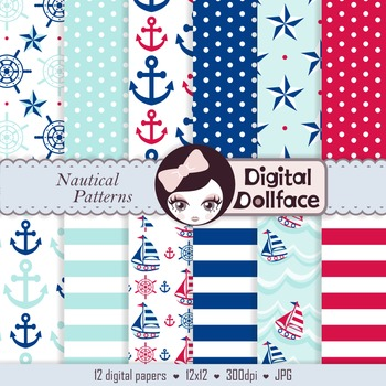 Digital Paper -Nautical Anchors & Stripes Background Patterns