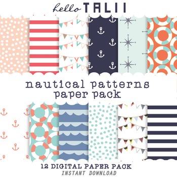 Digital Paper: Nautical Patterns