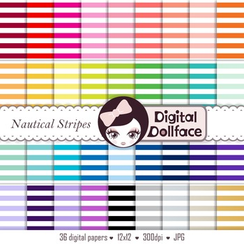 Digital Paper - Nautical Stripes, Backgrounds