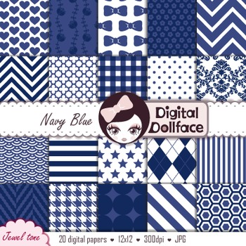 Digital Paper - Navy Blue Patterns