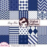 Digital Paper - Navy Blue Patterns