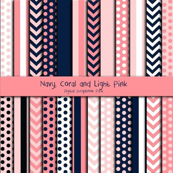 Digital Paper - Navy, Coral & Light Pink Theme