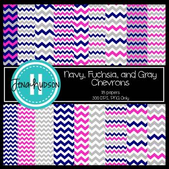 Digital Paper ~ Navy, Fuchsia, and Gray Chevron