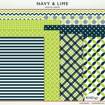 Digital Paper - Navy & Lime