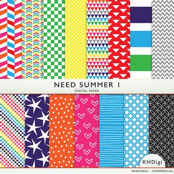 "Digital Paper - ""Need Summer ""  Bright Colors"