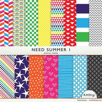 "Digital Paper - ""Need Summer ""  Bright Colors"
