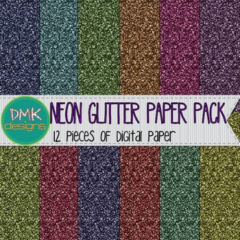 Digital Paper- Neon Glitter Papers