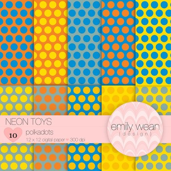 Neon Toys - Digital Paper - Polkadots