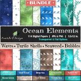 Digital Paper | Ocean Elements: BUNDLE {PaezArtDesign}