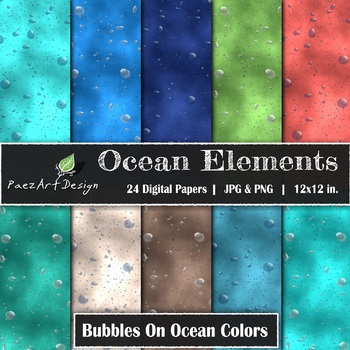 Digital Paper | Ocean Elements: Bubbles on Ocean Colors {PaezArtDesign}