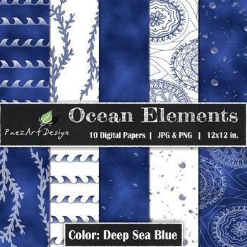 Digital Paper   Ocean Elements: Deep Sea Blue - Ocean Designs {PaezArtDesign}