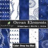 Digital Paper | Ocean Elements: Deep Sea Blue - Ocean Desi