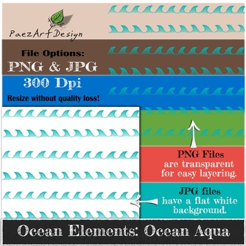 Digital Paper | Ocean Elements: Ocean Aqua - Ocean Designs {PaezArtDesign}